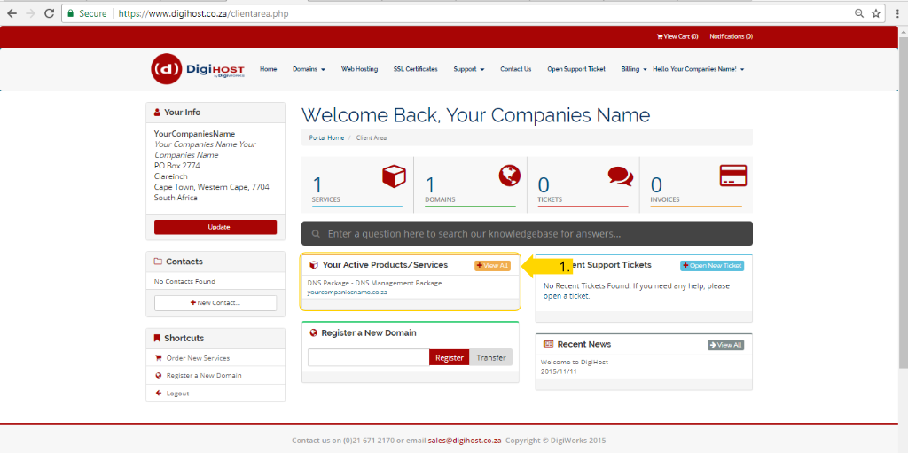 Email Account via cPanel - Screen 1
