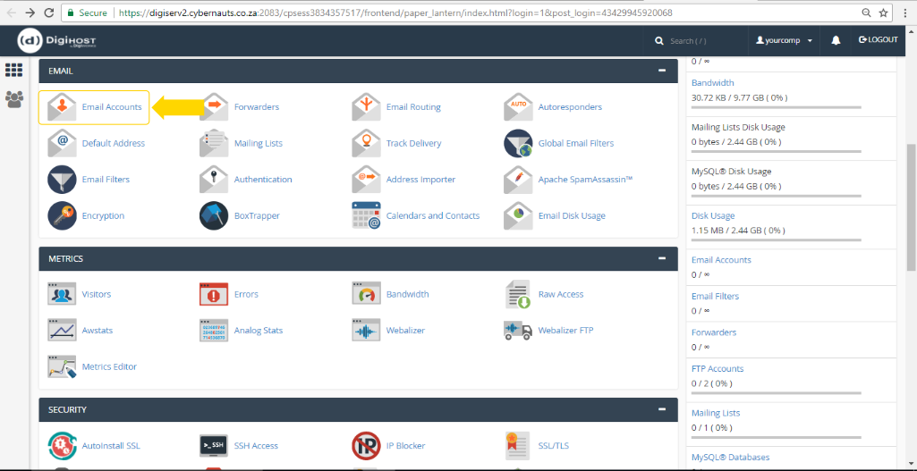 Email Account via cPanel - Screen 5