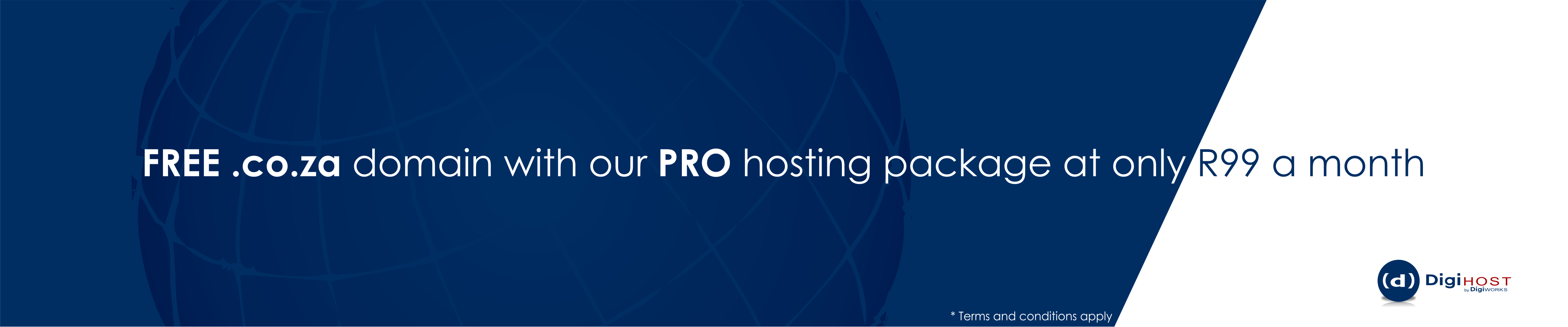 DigiHost free domain with our pro package for R99 a month